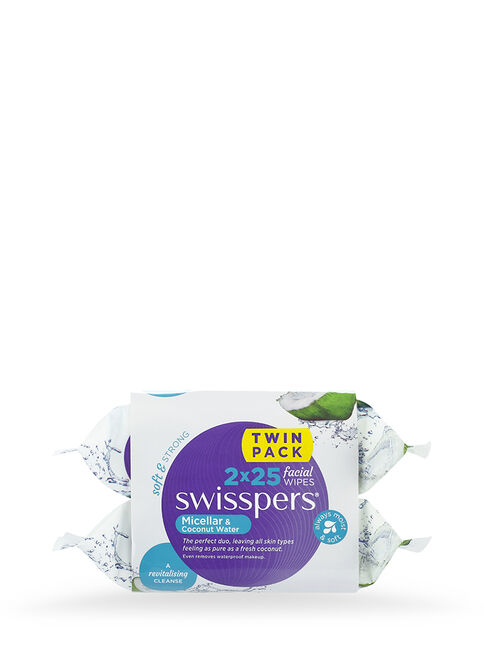Micellar and Coconut Water Facial Wipes 2 x25 pack